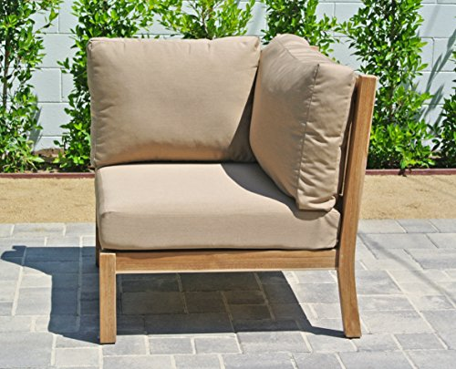 Coal Fabric Outdoor (Willow Creek Designs Huntington Teak Corner Section with Sunbrella Cushion, 33.5