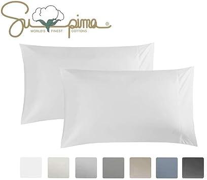 100/% Long Staple Cotton Softest Pillow Case with Stylish 4 inch Hem Pizuna 400 Thread Count Cotton White Pillow Cases King 2 Pack Soft Sateen White Pillow Covers 100/% Cotton King Pillow Case