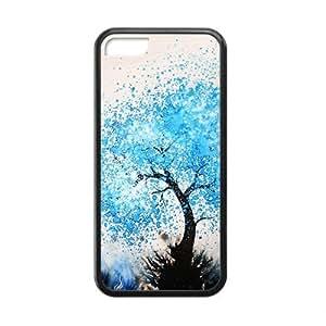 XiFu*MeiBlue Watercolor Tree Black Phone Case for iphone 4/4sXiFu*Mei