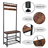 GOTEK Industrial Coat Rack, Hall Tree Entryway Shoe
