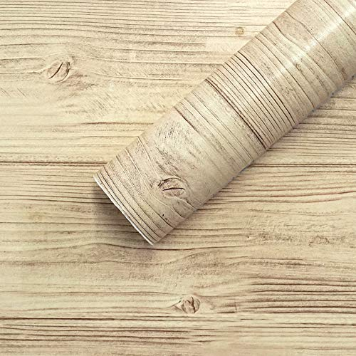 Wood Contact Paper Wood Wallpaper Self Adhesive Wood Peel and Stick Wallpaper Wood Grain Contact Paper Removable Wallpaper Wood Texture Wall Covering Shelf Drawer Liner Faux Vinyl Roll 17.7