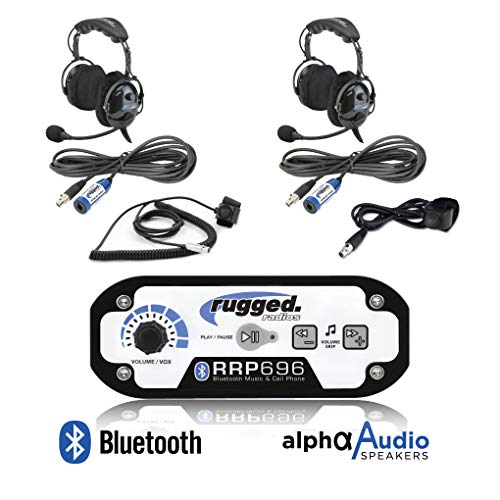 Rugged Radios RRP696 Intercom 2 Place Kit with Over The Head Headsets, Push to Talk Cables and Intercom Cables