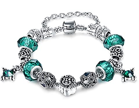 Green Murano Glass Charm Heart Beaded Silver Plated Bracelet 6.69