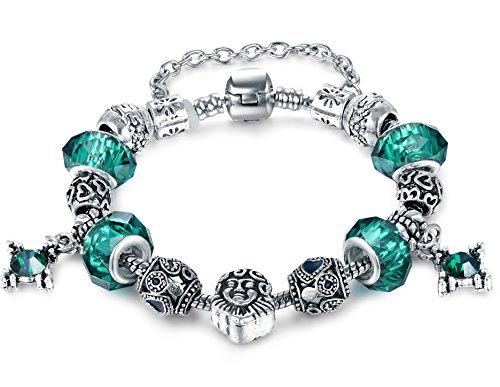 [Vintage European Fashion Green Murano Glass Charm Heart Beaded Silver Plated Diy Bracelet 7.87