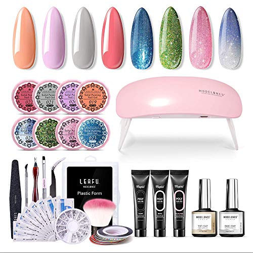 Modelones Poly Nail Gel Kit Glitter Gel Starter Kit with UV led light,7 Colors and 1 Color Changing Pot Gel,Manicure Tools,Striping Tape Lines, Nail Art Rhinestone, All-In-One Salon Kit In Gift Bo