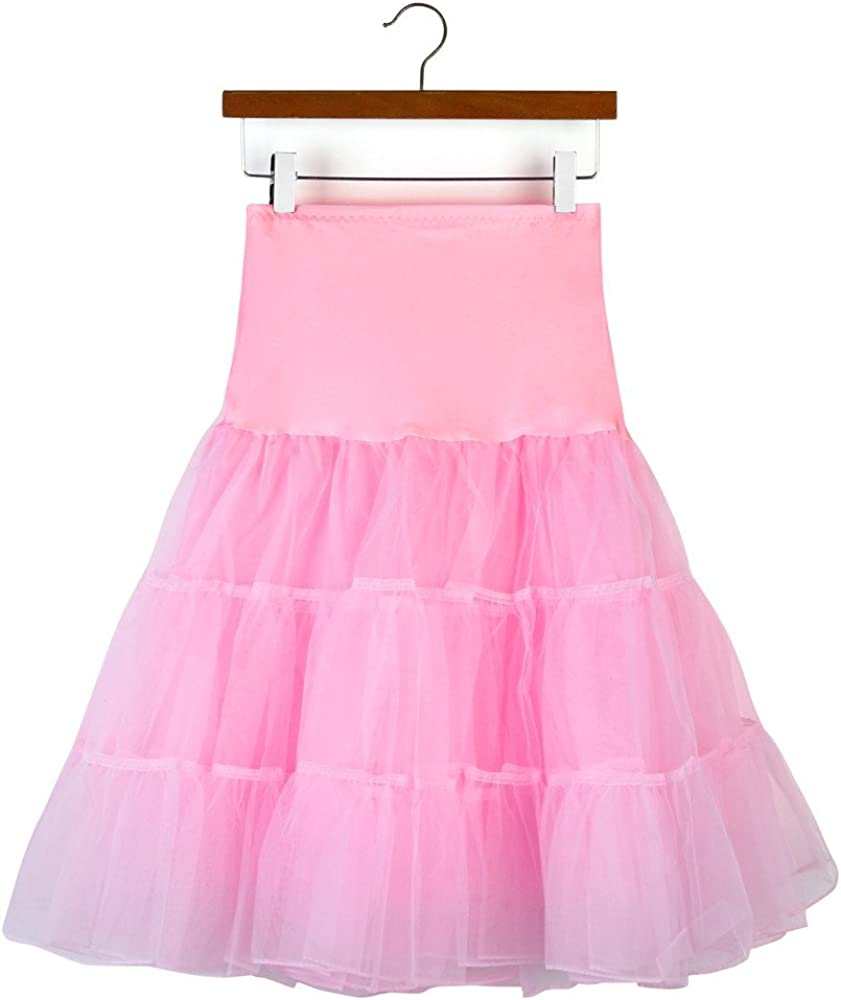 HARRYSTORE Dresses Women's 50s Vintage Petticoat Skirts Half Slip Crinoline Tutu Underskirts Vintage Dress Pink