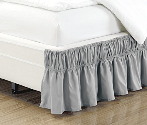 wrap around 16 inch fall grey ruffled elastic solid bed skirt fits all queen king and cal king. Black Bedroom Furniture Sets. Home Design Ideas