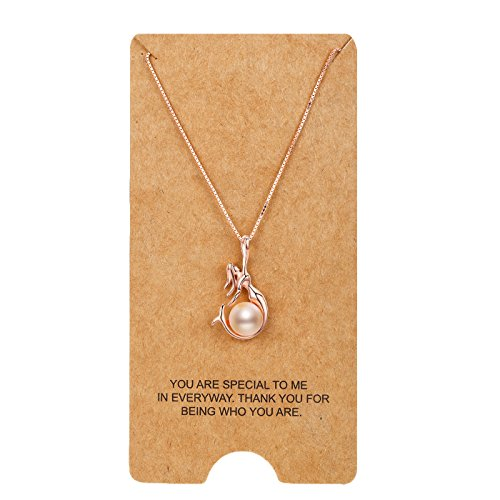 Cultured Pearl Rose Gold Necklace - WRISTCHIE Womens Fashion Jewelry 925 Sterling Silver Freshwater Cultured Pearl and Mermaid Pendant Necklace 18+2