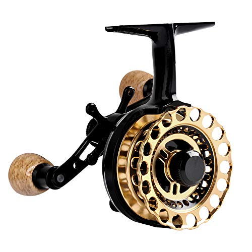 Fiblink Inline Ice Fishing Reel Right/Left Handed Fishing Raft Wheel Ice Reels (Left Handed)