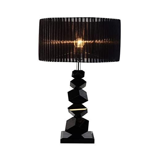 Cxjff Lámparas de Mesa LED de Moda, romántica Tela Negra Base de ...