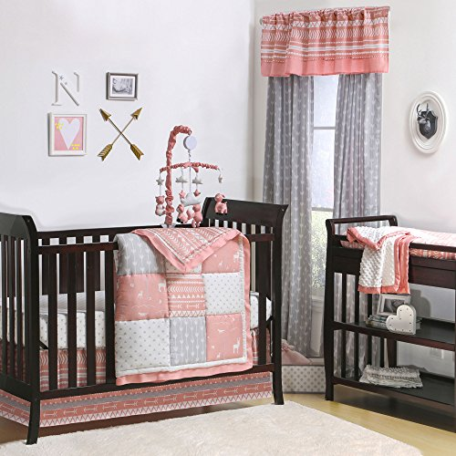 Woodland Pixie Coral and Grey Baby Crib Bedding - 11 Piece Sleep Essentials Set by The Peanut Shell