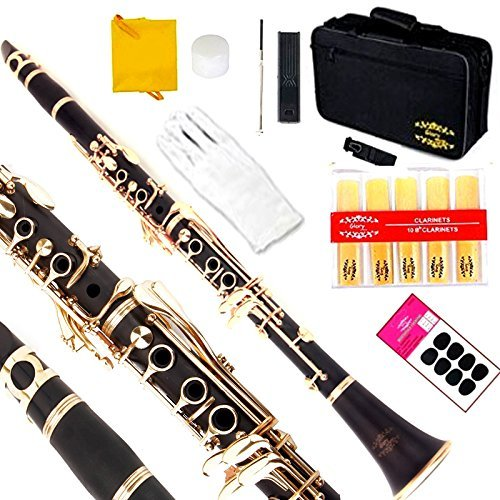 Glory Black/Gold keys Clarinet B Flat with 2 Barrels, 11reeds,8 Pads cushions,case,carekit CLICK to see more Colors by GLORY