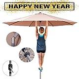 Shilucheng 9′ Outdoor Patio Offset Market Crank Umbrella Auto Tilt (9 Ft(Aluminum), Beige)