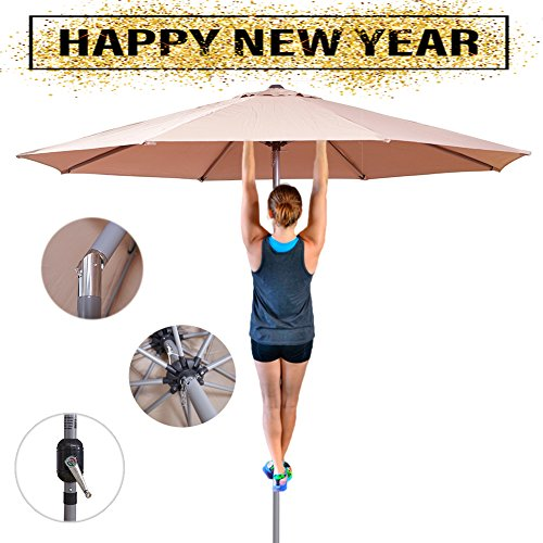 Aluminum Tilt Offset Umbrella - Shilucheng 9' Outdoor Patio Offset Market Crank Umbrella Auto Tilt (9 Ft(Aluminum), Beige)