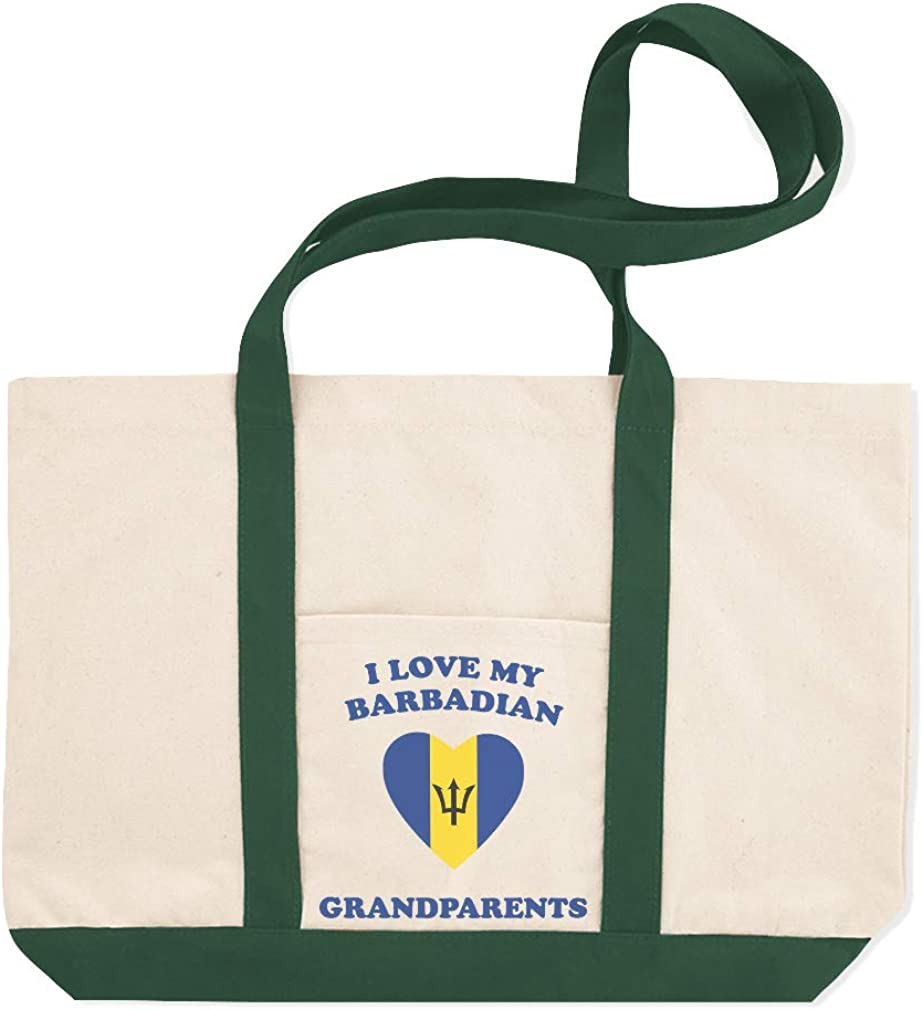 Canvas Shopping Tote Bag I Love My Barbadian Grandparents Countries Beach for Women
