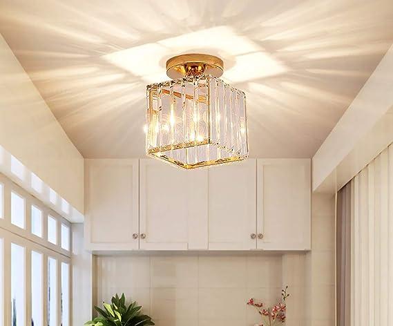 Amazon Com Crystal Ceiling Light Fixture Flush Mount Mini Chandelier Modern Lighting E27 Base Gold For Hallway Bathroom Bedroom Bar Kitchen Dining Room Kids Room Square Home Improvement