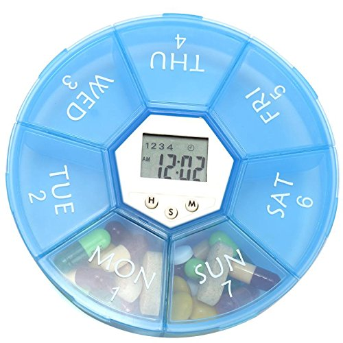Pill Box With Alarm (7Days Digital Pill Organizer LED Light Alarm reminders 7 Days Pill Organizer- Light Weight 4 Groups Clock Easy Carry Alarm Reminder Pill Box)