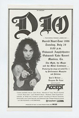 DIO Handbill Ronnie James 1986 Jul 29 Oakwood Amphitheatre Manteca