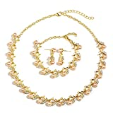 MOOCHI 18K Gold Plated Pink Simulated Pearls Rhinestones Necklace Earrings Bracelet Jewelry Set for Women Costume Wedding Engagement Statement Prom Birthday Party