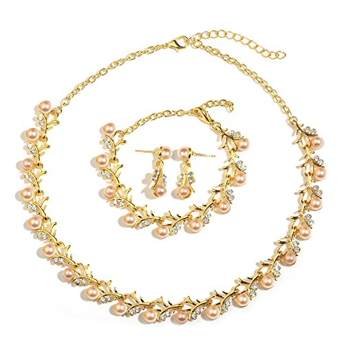 (MOOCHI 18K Gold Plated Pink Simulated Pearls Crystal Twig Pattern Jewelry Set)