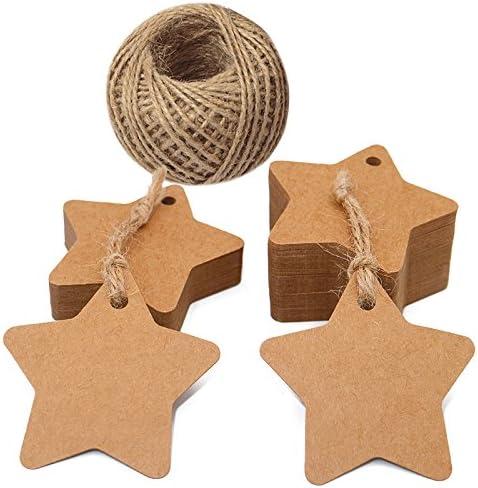 Stern Geschenkanhänger für Weihnachten, 100 stück Kraftpapier Etiketten, 6 CM Braune Geschenkanhänger mit 30 M Jute-Schnur
