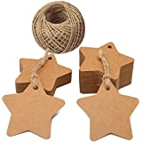 Star Tags,100 PCS Kraft Paper Gift Tags with 100 Feet Jute String, Ideal for Wedding Party Favor Tags, Price Labels, Luggage Tags(brown)