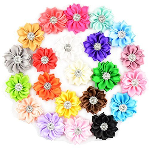 Satin Flower Embellishments (Aisila 22 Pieces 1.5 Inch Handmade Satin Ribbon Rhinestone Flowers(AIH068))