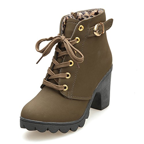 Hunzed Women Shoes Women's high-Heeled Buckle Leather Platform Girl's Boots (Army Green, 8)