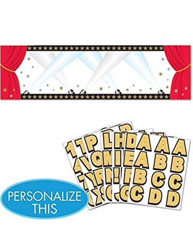 Amscan Elegant Hollywood Personalized Giant Party Sign Banner, 65'' x 20'', Black/Red