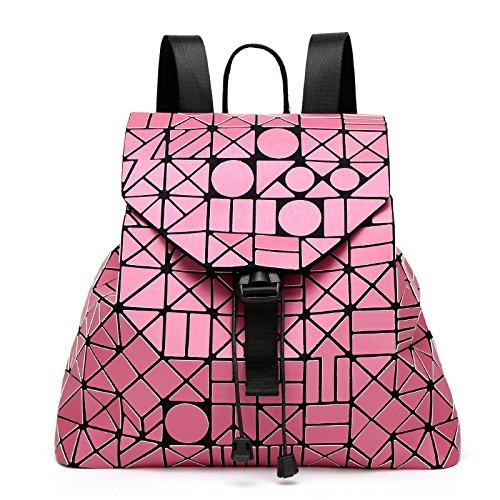 Backpack Geometric Fashion Women's Stitching Handbag Diamond Pink qz8dvxwp