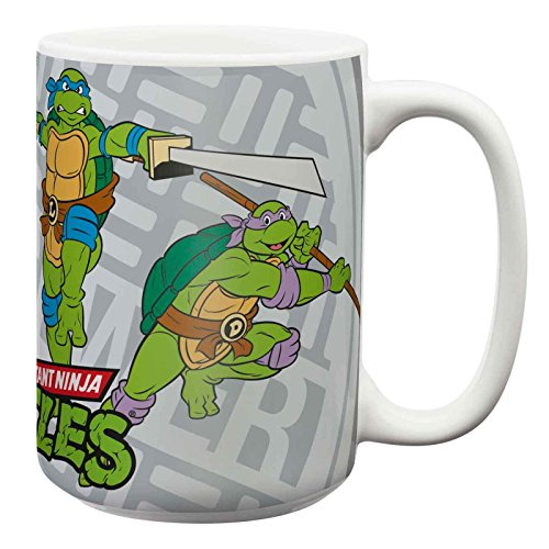 Blue Dinnerware Retro - Zak Designs TNTW-1590-B Turtles Retro Blue Ceramic Mug, Multicolor