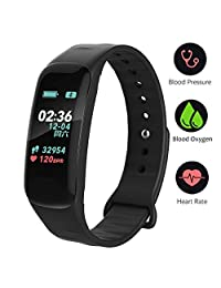 Fitness Tracker,Color Screen Activity Tracker Watch Blood Pressure Blood Oxygen, IP67 Waterproof Smart Band Heart Rate Sleep Monitor Calorie Counter Pedometer Men, Women Kids