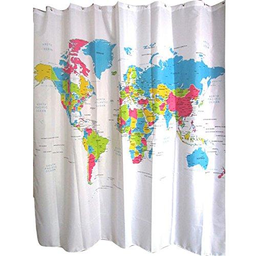 STPKshop Cortina de chuveiro Mapa Do Mundo Padro Criativo Tecido de Polister Cortina de Chuveiro Do Banheiro  Prova D' gua 72 Polegada + 12 Ganchos T31