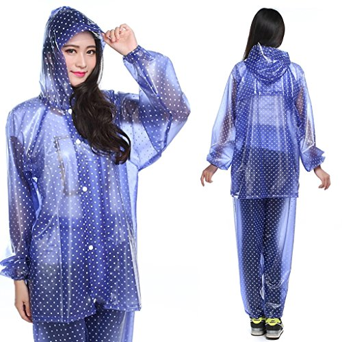 raincoat Raincoat rain pants Suit Adult Women's Outdoor On foot Riding Whole body Waterproof Poncho Thicken Motorcycle Bicycle Tourism Festival Theme Party Comfortable and breathable ( Color : A )