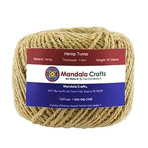 Mandala Crafts 1.5mm 170FT Colored Natural Rustic Hemp Twine Thread Cord Burlap String Rope Spool Roll (Hemp)