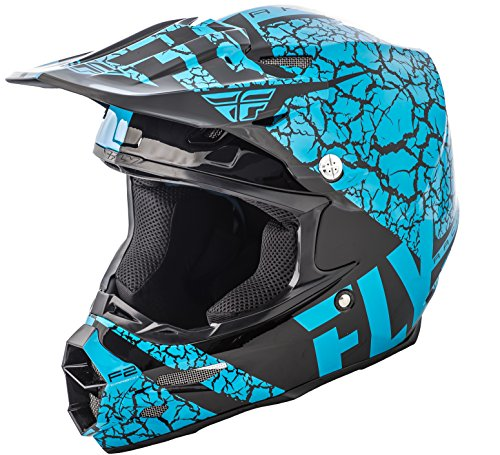 FLY RACING F2 CARBON FRACTURE HELMET LIGHT BLUE/BLACK LG