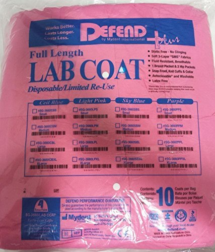 DEFEND PLUS Disposable Lab Coats, 10/Bag, Soft SMS Fabric Latex Free (PINK - LARGE)