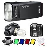 Neewer AD200 200Ws 2.4G TTL Outdoor Pocket Flash Strobe Light 1/8000 HSS Monolight with N1T-S Wireless Trigger, Barn Door and Cleaning Kit for Sony A77II A7RII A7R A6000 Camera with New Mi Hot Shoe