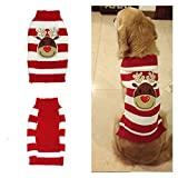 Oasis Plus Cute Christmas Elk Red White Stripes Pet Dog Cat Knit Jumper Sweater Puppy Warm Winter Knitwear Costume (Large) For Sale