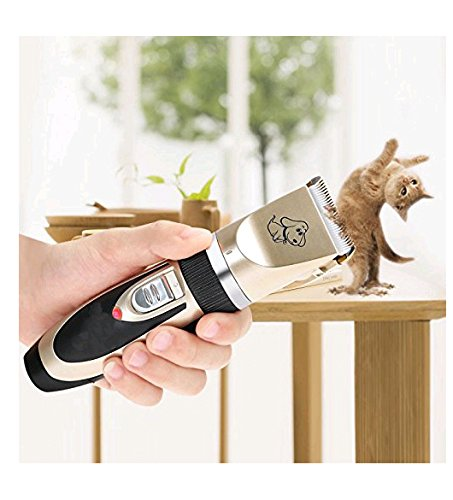 clipper-1 blade SUMCOO Pet Clipper,Rechargeable Cordless Cat And Dog Grooming Clippers With 4 Comb Attachment