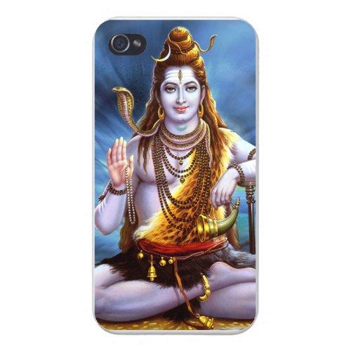 Shiva Case - Apple Iphone Custom Case 5 / 5s AND SE White Plastic Snap on - Hindu God Shiva w/ Horn & Snake