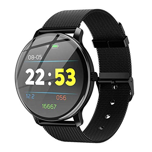 OPTA SB-154 Steel Alauda Bluetooth Spherical Mirror Screen Fitness Watch with All Day Heart Rate and Activity Tracking Smart Band for Android and iOS, Medium (Black)