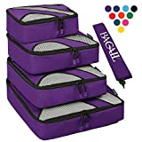 4 Set Packing Cubes,Travel Luggage Packing Organizers with Laundry Bag Purple