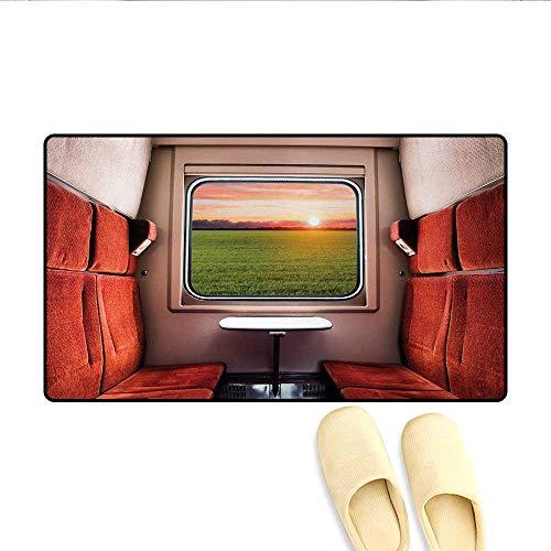 (Doormat,Fresh Nature Setting from Train Compartment Window Railroad Destination Travel,Bath Mat 3D Digital Printing Mat,Red Green)