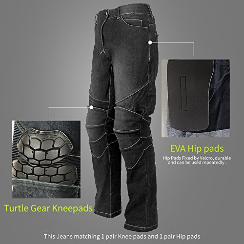 Riding Tribe Motorcycle Pant Biker Jeans Motorbike Racing Trousers with 4Pcs Removable Protective Pads by Riding Tribe (Image #5)