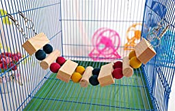 Natural Wooden Swing Ladder Crawling Bridge Funny Toy for Mouse Rat Bird Hamster and other Furry Animals, 20inch