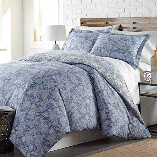 Set Newport Cover Duvet (Hemau Premium New Soft Southshore Fine Linens - Perfect Paisley Collection - Boho Style Comforter Sets, 3 Piece Set, Full/Queen, Blue | Style 503194509)