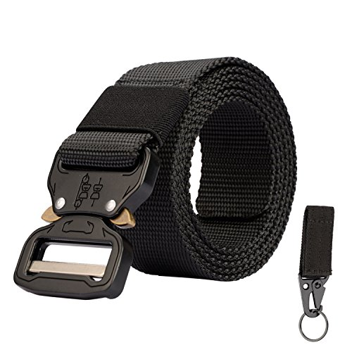 KingMoore Men's Tactical Belt Heavy Duty Webbing Belt Adjustable Military Style Nylon Belts with Metal Buckle (X-Large, Black) (Copper Womens Belt Buckle)