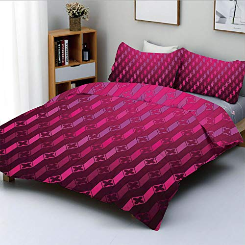 Duplex Print Duvet Cover Set King Size,Abstract Stripe Psychedelic Motif Fashion Gradient Retro Structured Grid ArtDecorative 3 Piece Bedding Set with 2 Pillow Sham,Taffy Rouge,Best Gift For Kids & - Duvet Covers Rouge
