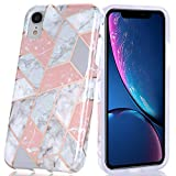 BAISRKE Pink Geometric Marble Design Slim Flexible Soft Silicone Bumper Shockproof Gel TPU Rubber Glossy Skin Cover Phone Case for iPhone XR 6.1 inch (2018)